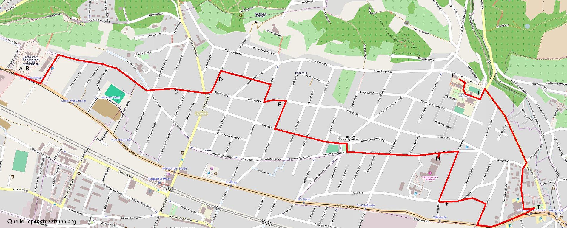 OSM-Karte von Niederlößnitz